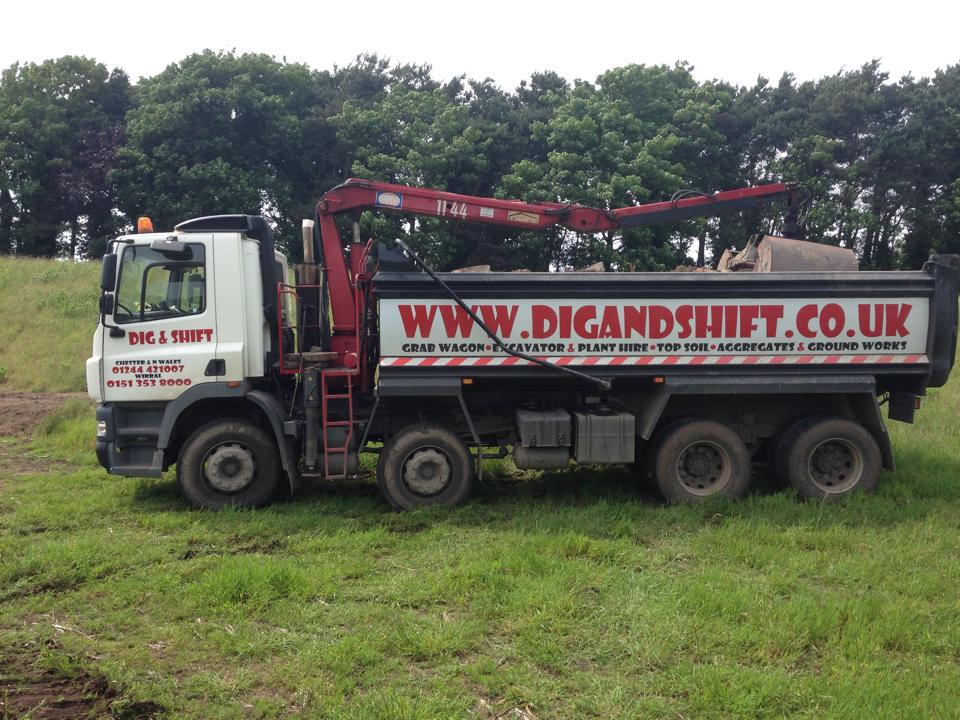 Dig and Shift supply grab wagons, dumper trucks, excavators, diggers and more to hire in Wirral.